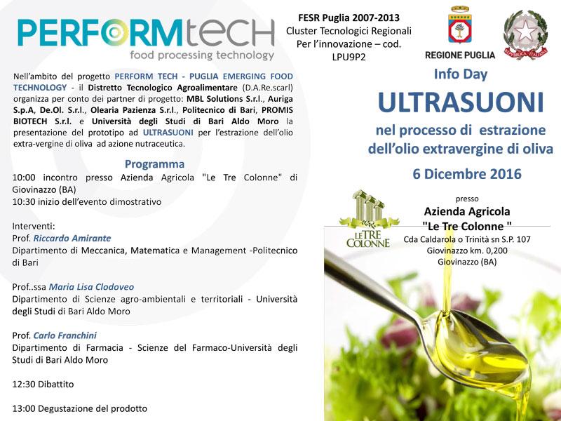 Ultrasuoni estrazione olio extravergine oliva
